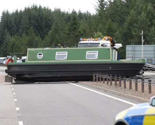 Narrowboat crash on A9